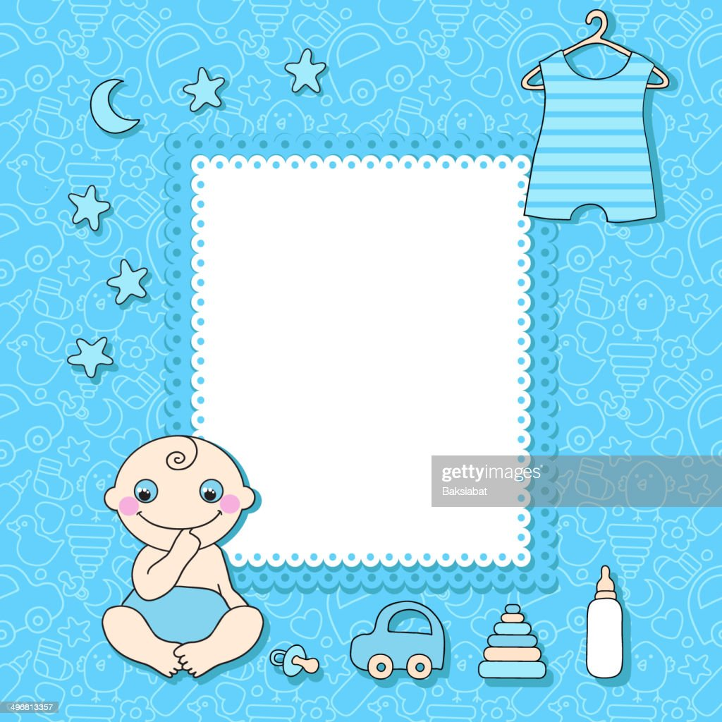 Sweet Baby Boy Announcement Card Style Cartoon Vector Art | Getty Images