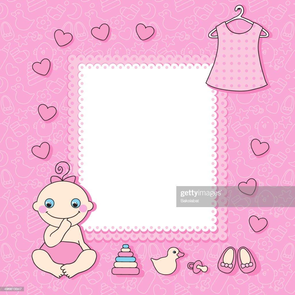 Sweet Baby Girl Announcement Card Style Cartoon Vector Art | Getty ...