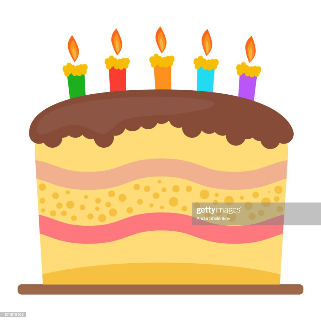 Sweet Birthday Cake With Three Burning Candles Vector Art Getty Images