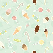 Sweet candy, cupcake, lollopop, ice cream pattern