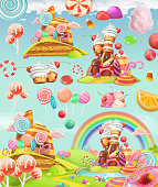 Sweet candy land. Cartoon game background. 3d vector icon set