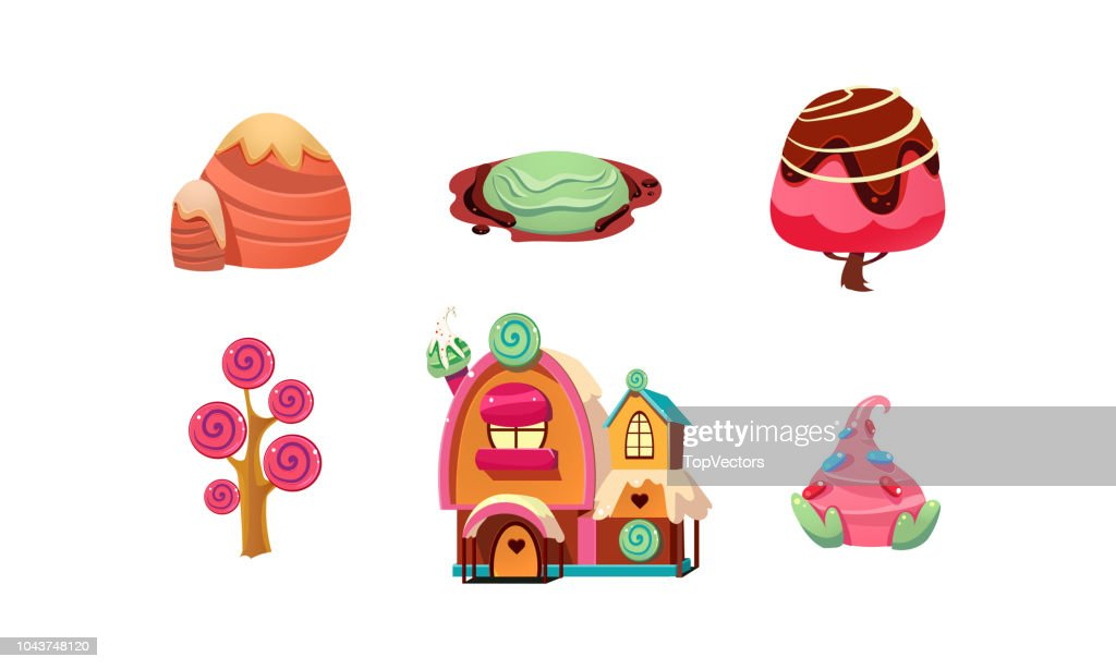 Sweet candy land, cute cartoon fantasy elements for mobile game design interface, sweet plants, trees, gingerbread house vector Illustration on a white background