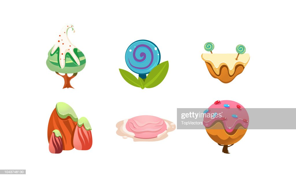 Sweet candy land design elements, cute cartoon fantasy plants for mobile game interface vector Illustration on a white background