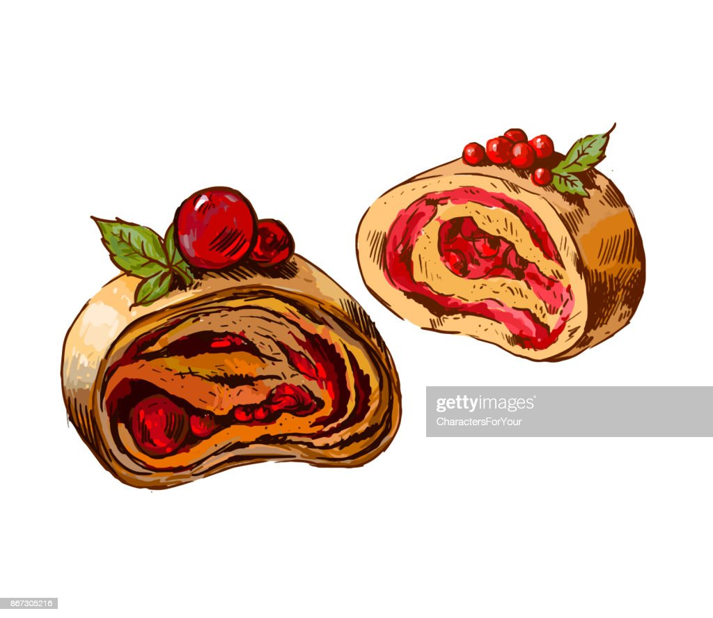 Sweet cherry strudel. Vector illustration