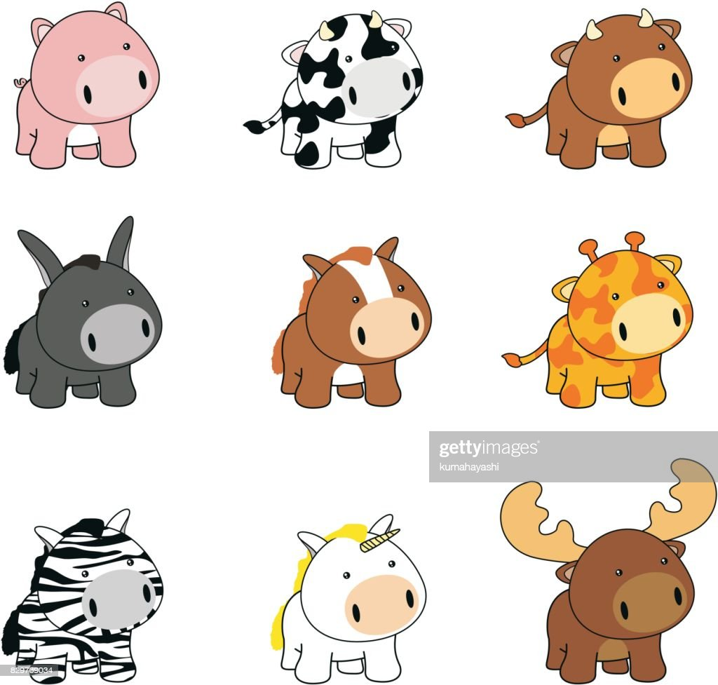 sweet chubby little baby animals cartoon set