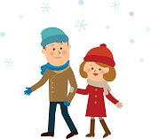 sweet couple in the snow