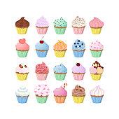 Sweet cupcakes set