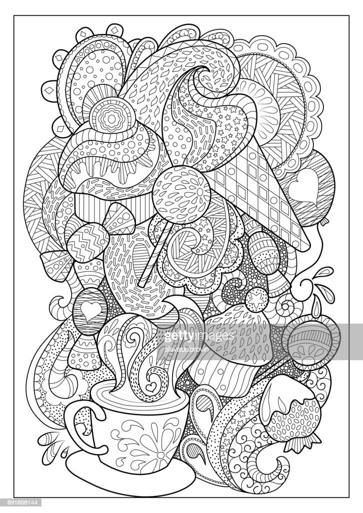 Sweet dessert and coffee outlined vector illustration for coloring.