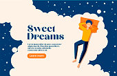Sweet dreams, good health concept. Young man sleeps on side. Vector illustration of boy in bed, night sky, stars. Advert of mattress. Design template with pose of sleeping for flyer, layout