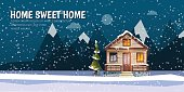 Sweet family home among mountains. A winter banner in flat