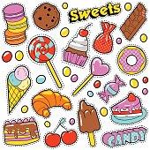 Sweet Food Badges Set with Patches, Stickers, Candies, Cakes