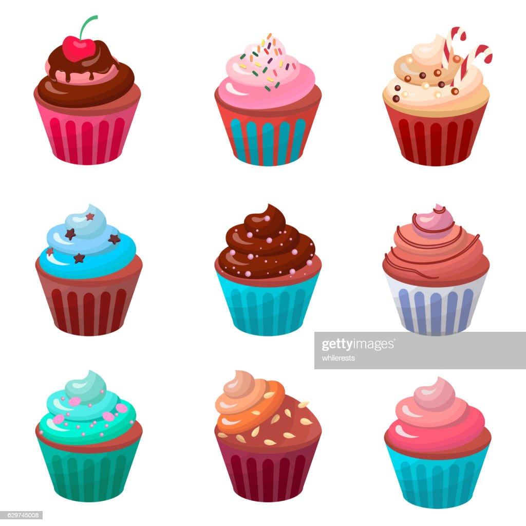 Sweet food chocolate creamy cupcake set isolated vector illustration