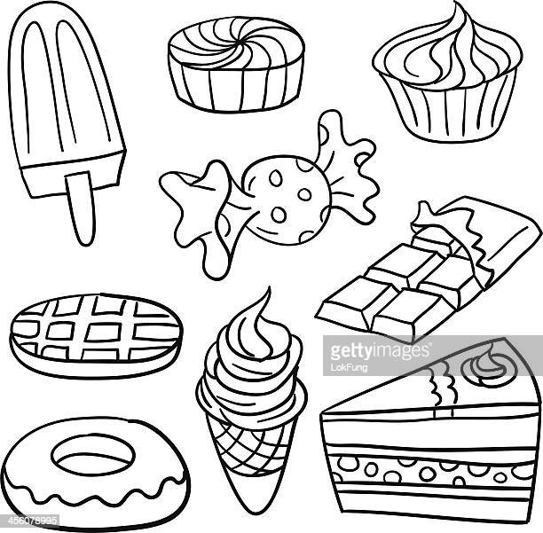 sweet food collection in black and white - waffle stock illustrations, clip art, cartoons, & icons