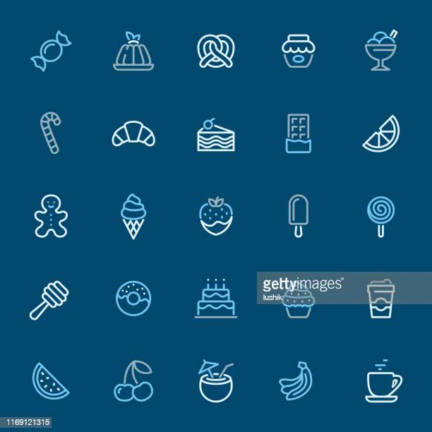 sweet food - color outline icons - panna cotta stock illustrations, clip art, cartoons, & icons