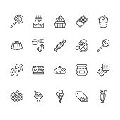 Sweet food flat line icons set. Pastry vector illustrations lollipop, chocolate bar, milkshake, cookie, birthday cake, marshmallow. Thin signs for desserts menu. Pixel perfect 64x64. Editable Strokes