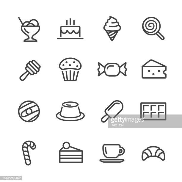 sweet food icons - line series - sugar food stock illustrations, clip art, cartoons, & icons