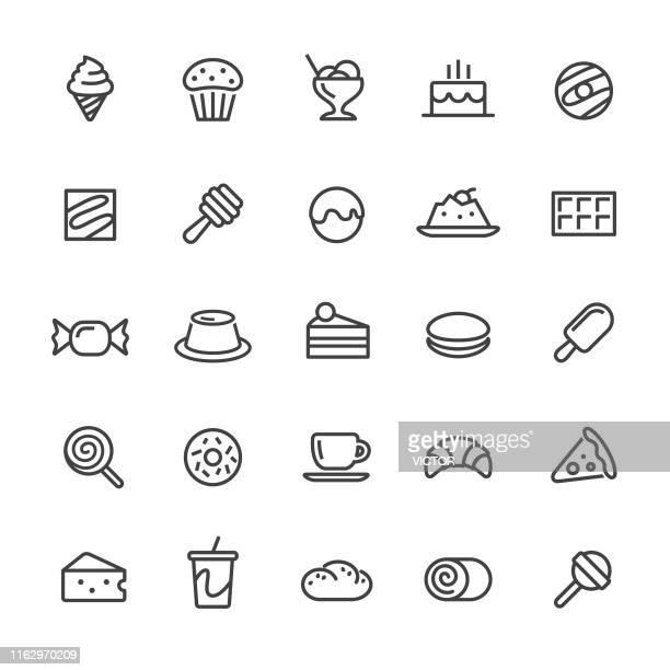sweet food icons - smart line series - panna cotta stock illustrations, clip art, cartoons, & icons
