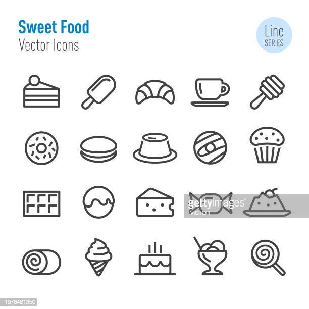 sweet food icons - vector line series - flavored ice stock illustrations, clip art, cartoons, & icons