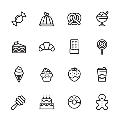 Sweet Food - outline icon set - gettyimageskorea