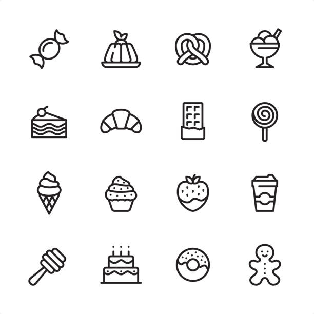 sweet food - outline icon set - frozen food stock illustrations
