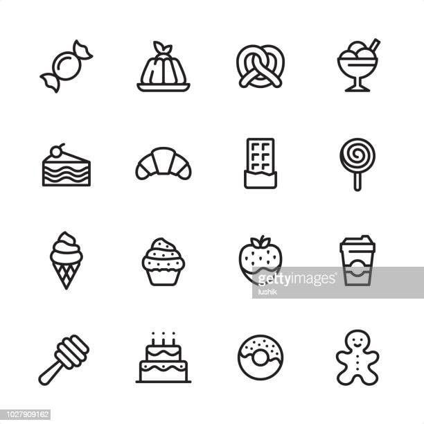 sweet food - outline icon set - sweet food stock illustrations