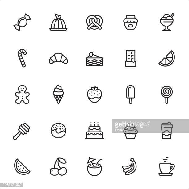 sweet food - outline icon set - panna cotta stock illustrations, clip art, cartoons, & icons
