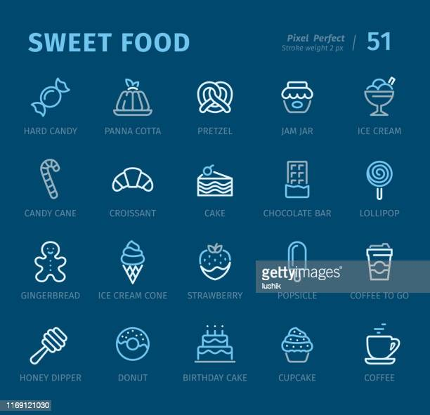 sweet food - outline icons with captions - panna cotta stock illustrations, clip art, cartoons, & icons