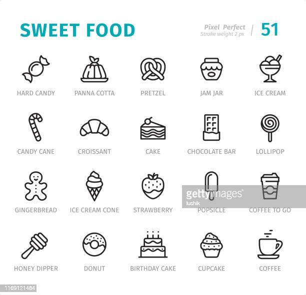 sweet food - pixel perfect line icons with captions - panna cotta stock illustrations, clip art, cartoons, & icons