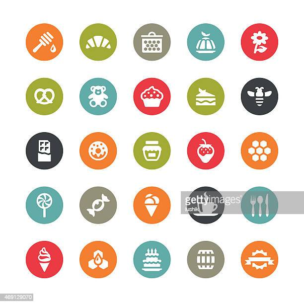 sweet food vector icons / ringico series - sugar food stock illustrations, clip art, cartoons, & icons