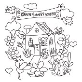 Sweet Home doodles coloring page
