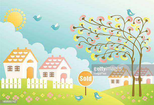 sweet homes - sold single word stock illustrations