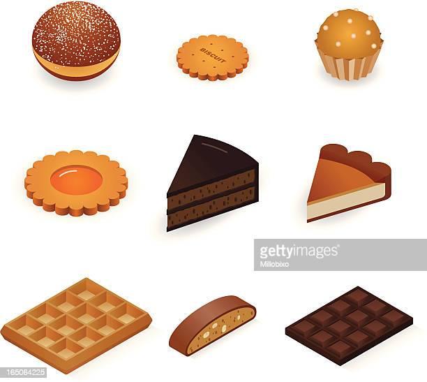 sweet icons - waffle stock illustrations, clip art, cartoons, & icons