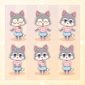 Sweet Kitty Little cute kawaii anime cartoon husky dog wolf puppy girl in dress with long fluffy ears different emotions mascot sticker Happy, sad, angry, smile, kiss, love Children character eps10