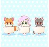 Sweet Kitty Little cute kawaii anime cartoon sad sorry cry tear fox, cat, kitten, lamb girl in dress character holding a sign with message banner your text Children character colorful vector eps10