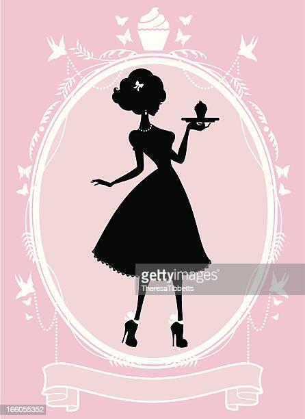 ilustrações, clipart, desenhos animados e ícones de sweet lady cupcake quadro - bolinho