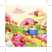 Sweet landscape vector background