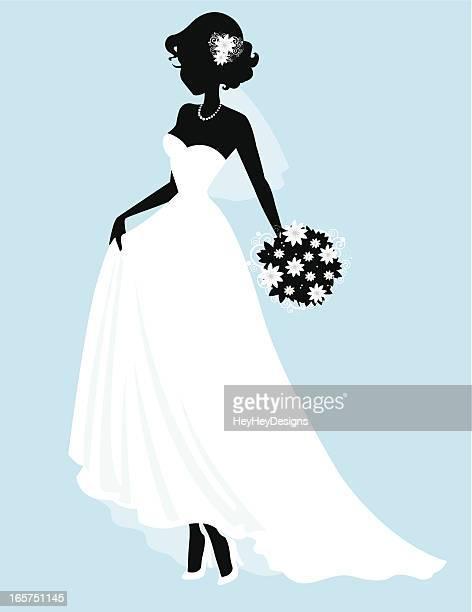 ilustraciones de stock y dibujos de vestido de novia |