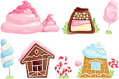 Sweet objects. Caramel chocolate candies fantasy elements for games cartoon desserts vector collection