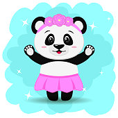 A sweet panda in a skirt and with a wreath, in the style of a cartoon stands with two arms raised.