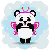 Sweet panda in pink butterfly costume, in the style of the cartoon stands with raised hands.