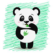 Sweet panda with a branch of bamboo in the style of the cartoon stands with a raised hand.