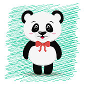 Sweet panda with a red bow around his neck, in the style of the cartoon stands.