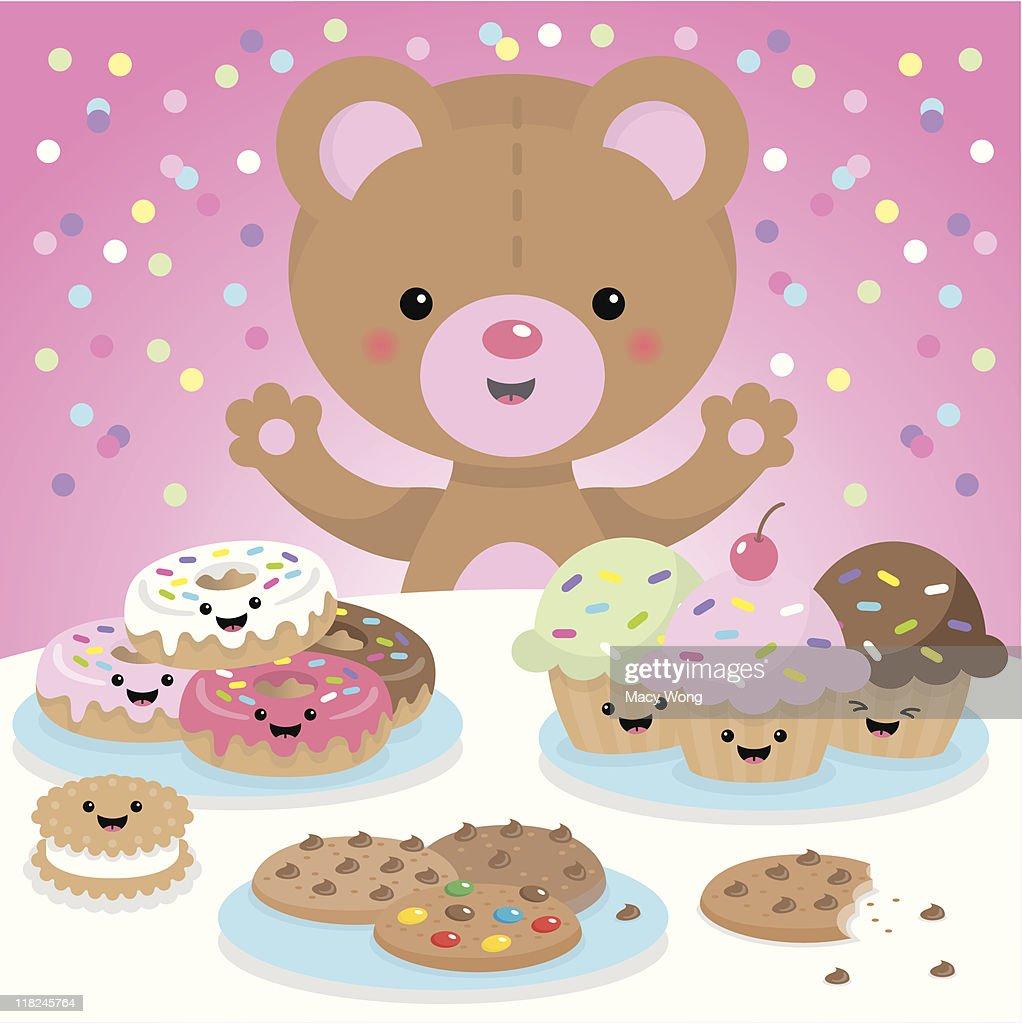 Sweet party kawaii bear : stock illustration