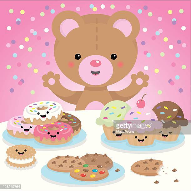 sweet party kawaii bear - donut stock illustrations, clip art, cartoons, & icons