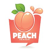 Sweet peach season. Vector label or sticker looks like a speech bubble