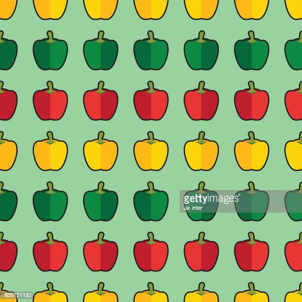 sweet pepper pattern background - bell pepper stock illustrations, clip art, cartoons, & icons