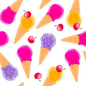 Sweet seamless pattern with multiciolor fruit ice cream cones and cherries.