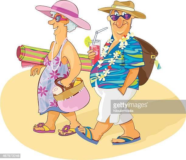 甘い年配のカップルが、ビーチバケーション - 年配のカップル点のイラスト素材/クリップアート素材/マンガ素材/アイコン素材