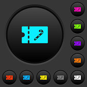 Sweet shop discount coupon dark push buttons with color icons