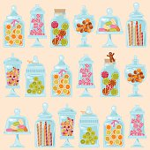 Sweet shop. Glass jars of various forms with diferent candies.